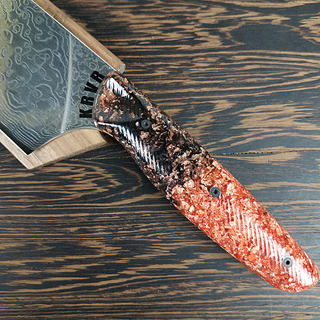 King Copper - 10in (254mm) Damascus Gyuto - Raindrop - Wavy Handle