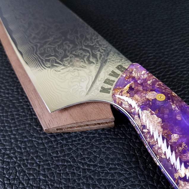 Purple Reign - 10in (254mm) Damascus Gyuto - Raindrop - Wavy Handle