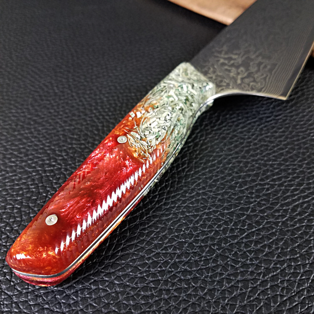 Plata o Plomo - 10in (254mm) Damascus Gyuto - Raindrop - Wavy Handle