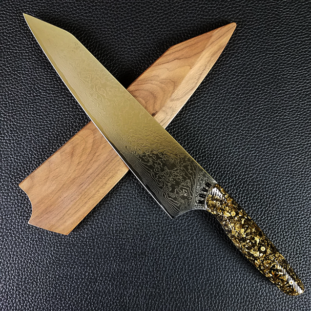 Black Gold - 10in (254mm) Damascus Gyuto - Raindrop - Wavy Handle