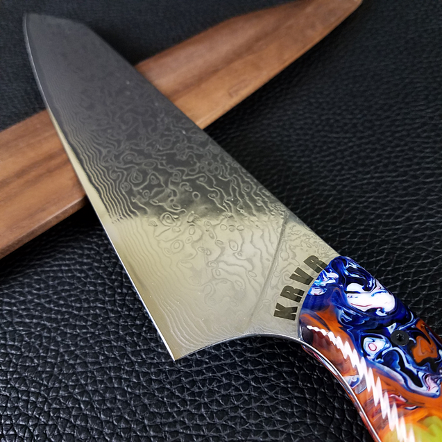 Fire Dance - 10in (254mm) Damascus Gyuto - Raindrop - Wavy Handle