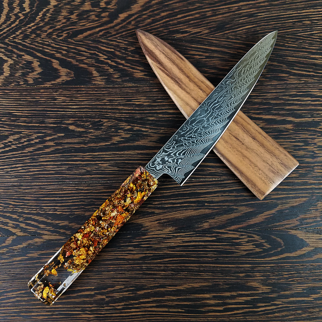 Fluttering Maple Sunrays - 6in (150mm) Damascus Petty Culinary Knife