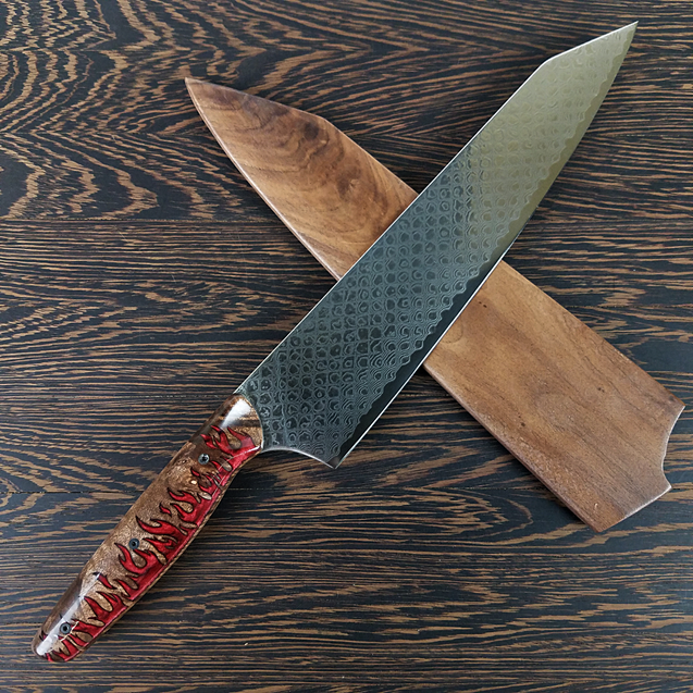 Dragon's Den - 10in (254mm) Damascus Gyuto - Dragonscale - Smooth Handle