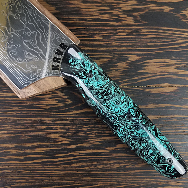 Lady of the Water - 10in (254mm) Damascus Gyuto - Raindrop - Smooth Handle