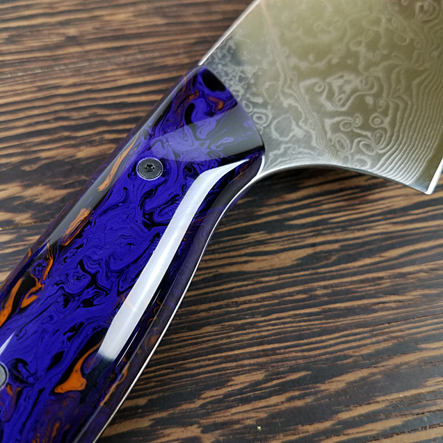 Ultra Violet - 10in (254mm) Damascus Gyuto - Raindrop - Smooth Handle