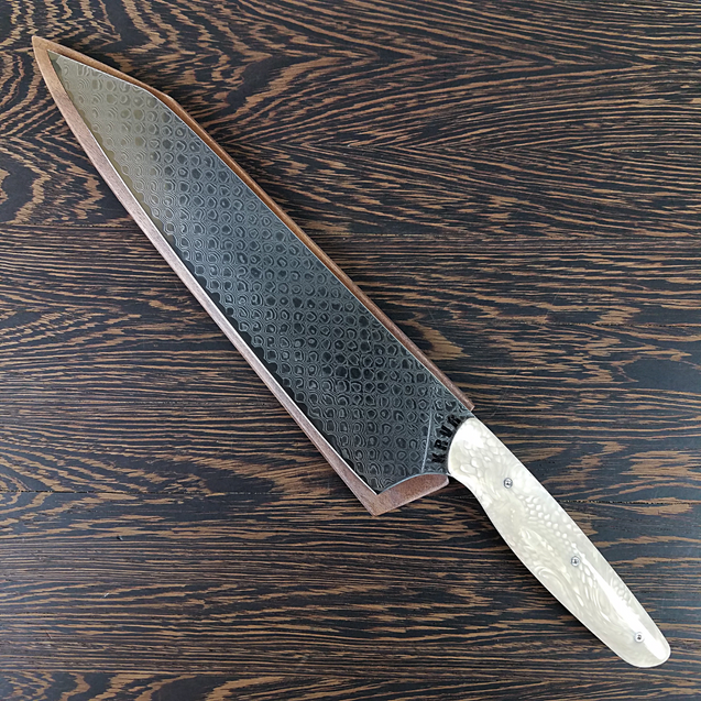 White Dragon - 10in (254mm) Damascus Gyuto - Dragonscale - Smooth Handle