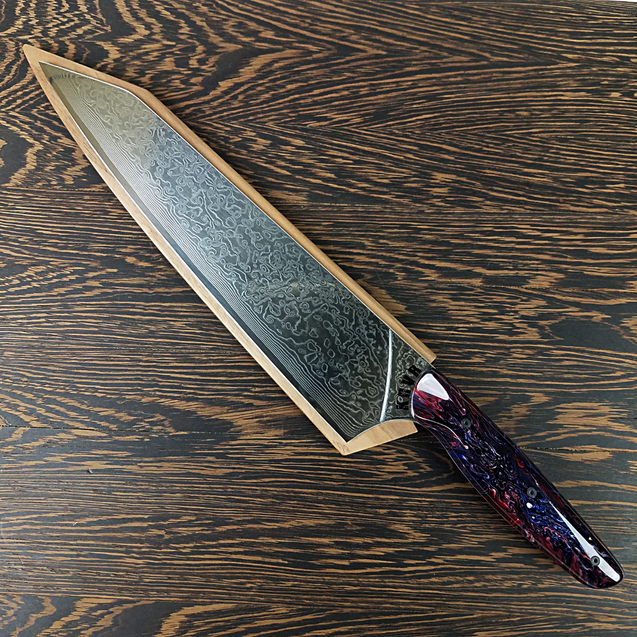 Genesis & Glory - 10in (254mm) Damascus Gyuto - Raindrop - Smooth Handle