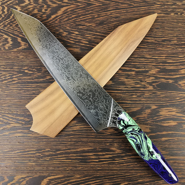 Andromeda - 10in (254mm) Damascus Gyuto - Raindrop - Smooth Handle