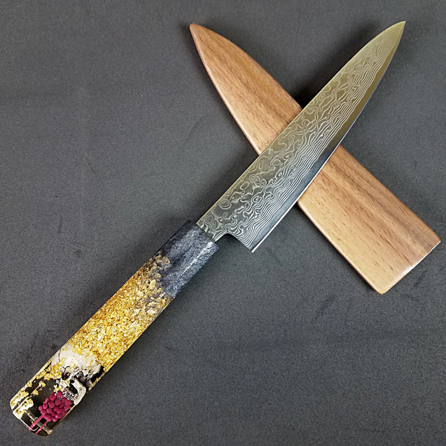 Dead Decadence- 6in (150mm) Damascus Petty Culinary Knife