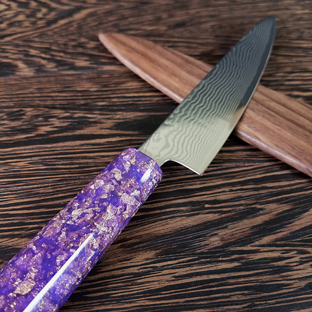 Purple Reign - 6in (150mm) Damascus Petty Culinary Knife