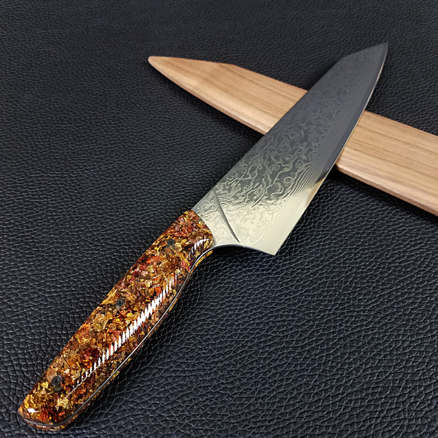 Pumpkin Spice - 10in (254mm) Damascus Gyuto - Raindrop - Wavy Handle