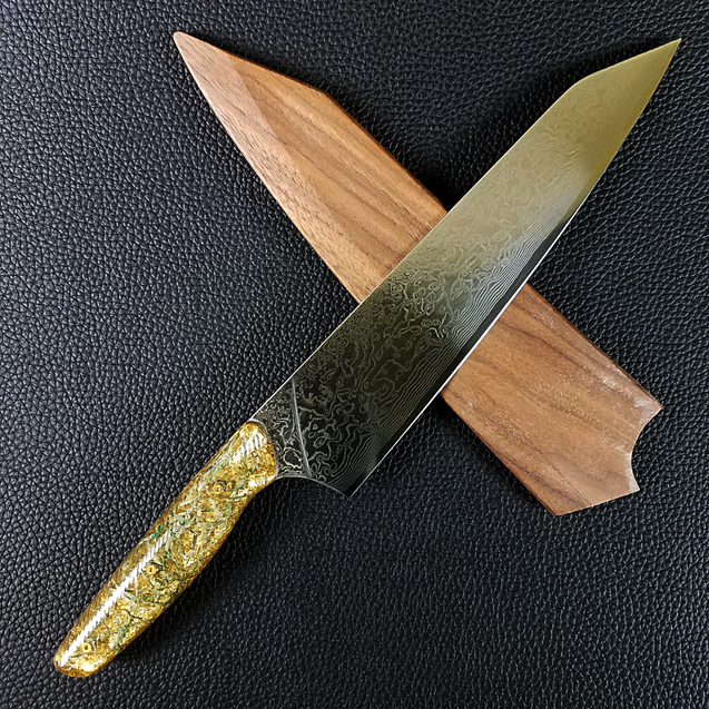 Fort Knox - 10in (254mm) Damascus Gyuto - Raindrop - Wavy Handle