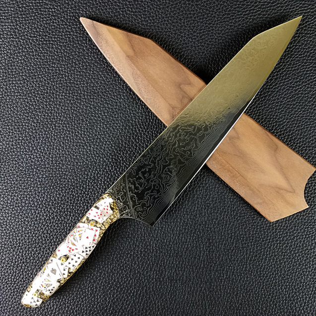 Royal Flush - 10in (254mm) Damascus Gyuto - Raindrop - Smooth Handle