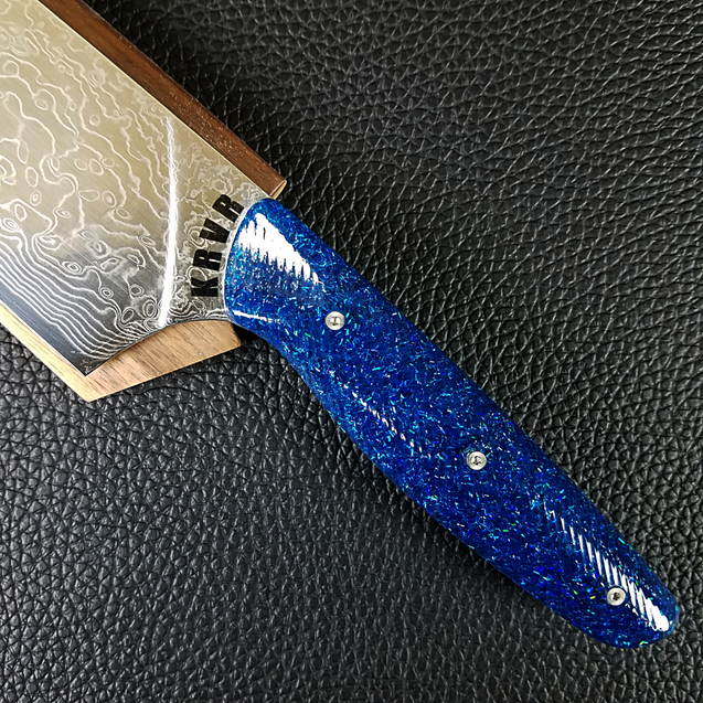 Blue Yonder - 10in (254mm) Damascus Gyuto - Raindrop - Wavy Handle