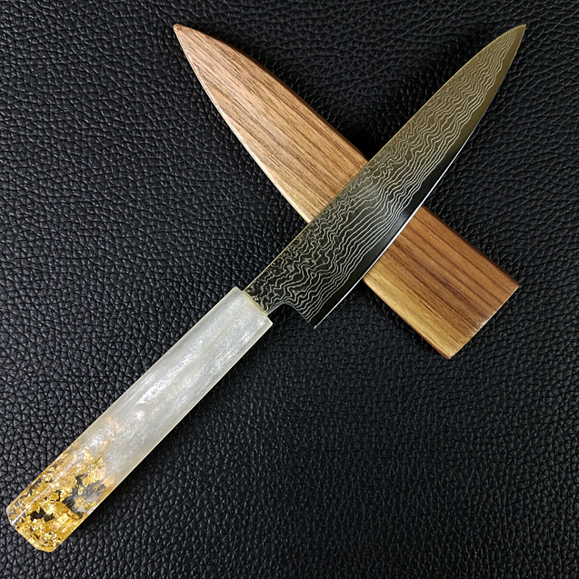White Gold - 6in (150mm) Damascus Petty Culinary Knife