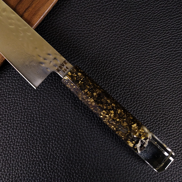 Dead Man's Chest - 210mm (8.25in) Damascus Gyuto Chef Knife - Hammered