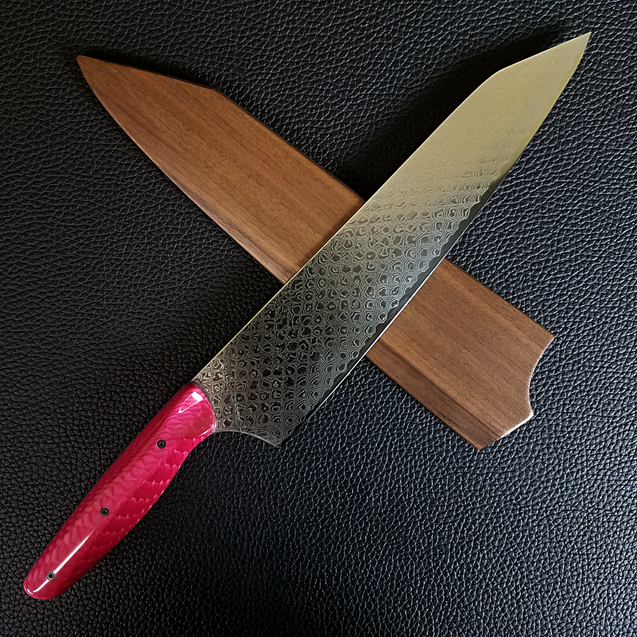 Pink Dragon - 10in (254mm) Damascus Gyuto - Dragonscale - Smooth Handle