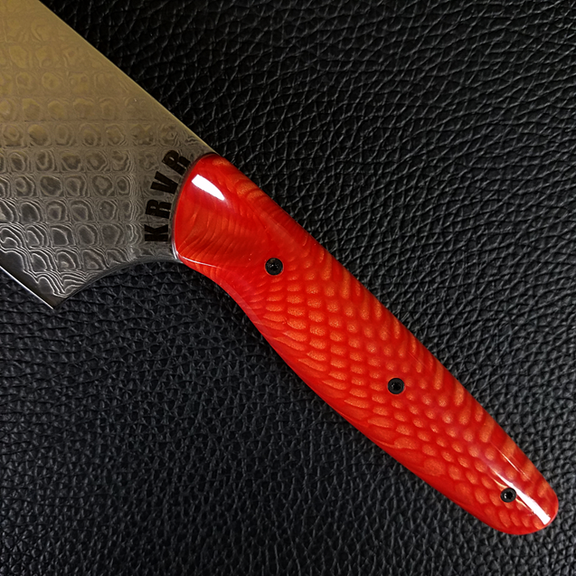 Red Dragon - 10in (254mm) Damascus Gyuto - Dragonscale - Smooth Handle