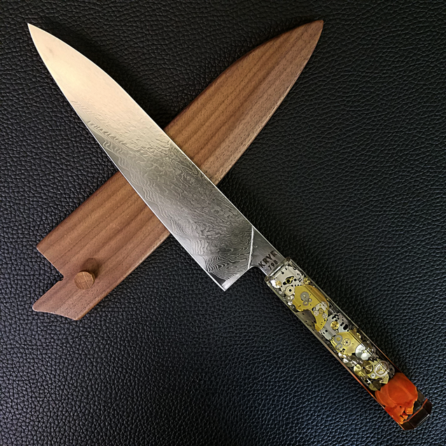 Father Time [Orange] - 210mm (8.25in) Damascus Gyuto Chef Knife