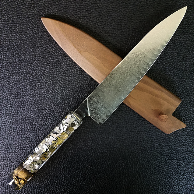 Father Time [Gold] - 210mm (8.25in) Cascade Damascus Gyuto Chef Knife