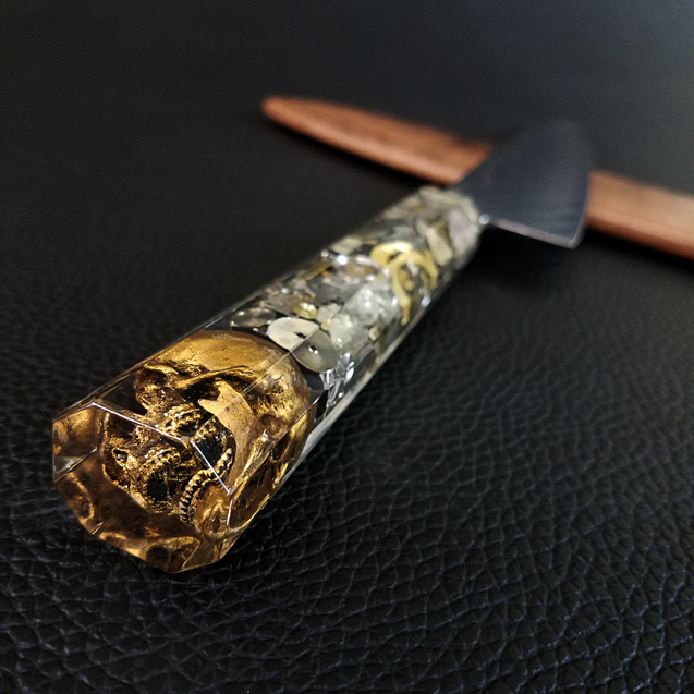 Father Time [Gold] - 210mm (8.25in) Sunray Damascus Gyuto Chef Knife