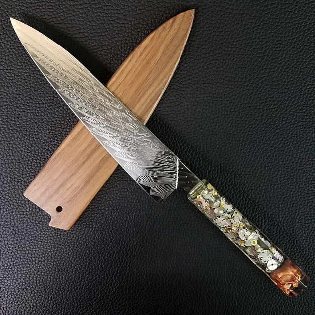 Father Time [Bronze] - 210mm (8.25in) Sunray Damascus Gyuto Chef Knife