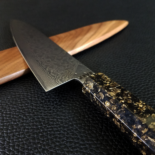 Dead Man's Chest - 210mm (8.25in) Raindrop Damascus Gyuto Chef Knife