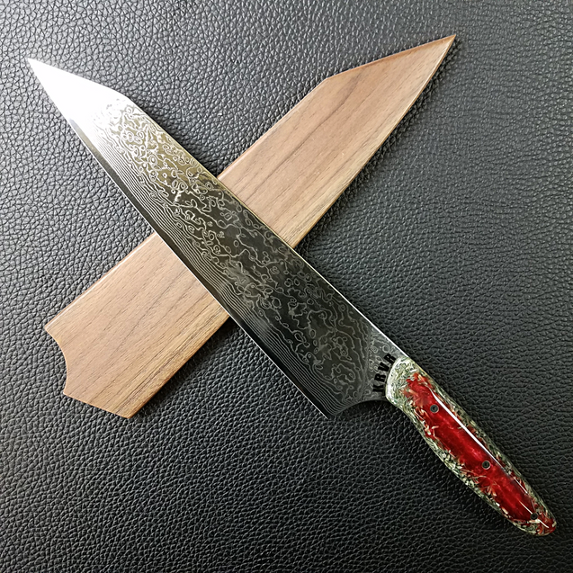 Blood Money - 10in (254mm) Damascus Gyuto - Raindrop - Smooth Handle