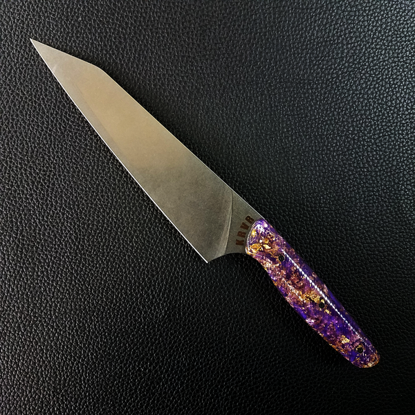Purple Reign - 8in (203mm) Gyuto Chef Knife S35VN Stainless Steel - Wavy Handle