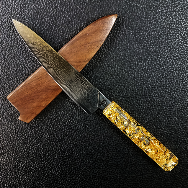 Golden Drop II - 6in (150mm) Damascus Petty Culinary Knife