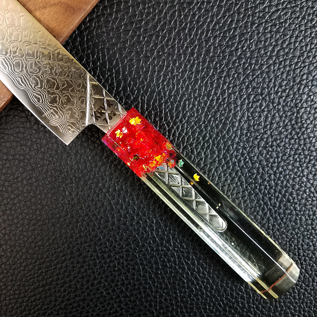 Maple Red Magic - 6in (150mm) Damascus Petty Culinary Knife