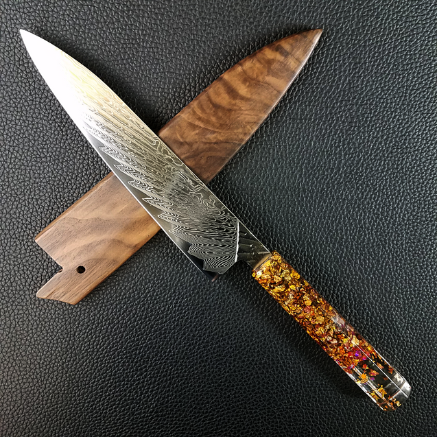 Technicolor Fall - 210mm (8.25in) Damascus Gyuto Chef Knife