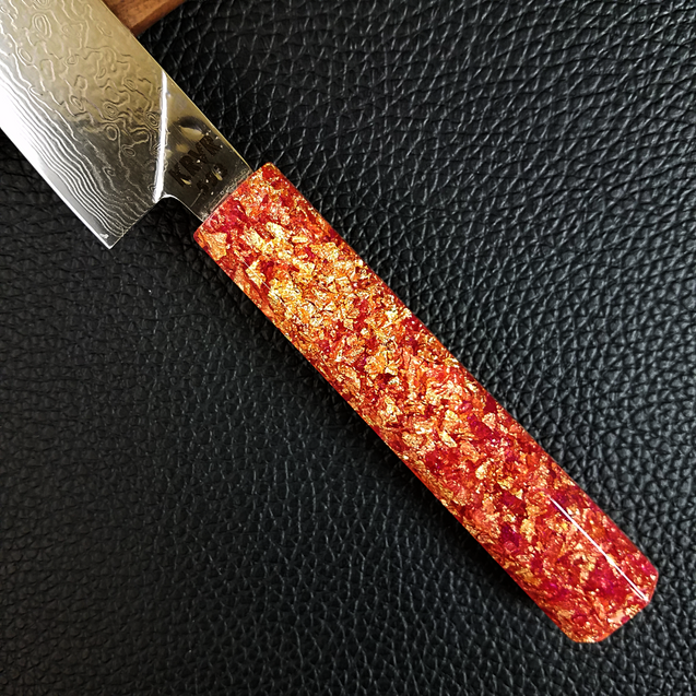 Pink Gold - 6in (150mm) Damascus Petty Culinary Knife