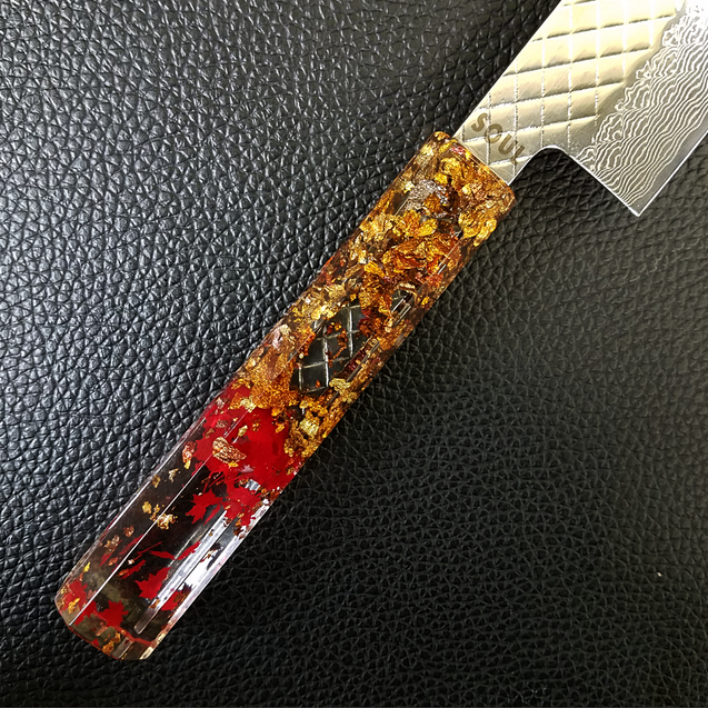 Autumn Wind Gust - 210mm (8.25in) Damascus Gyuto Chef Knife - Hammered
