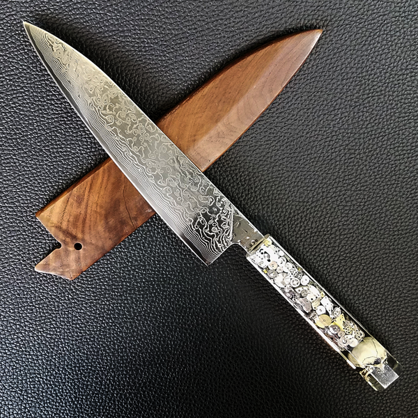 Chronos - 210mm (8.25in) Raindrop Damascus Gyuto Chef Knife