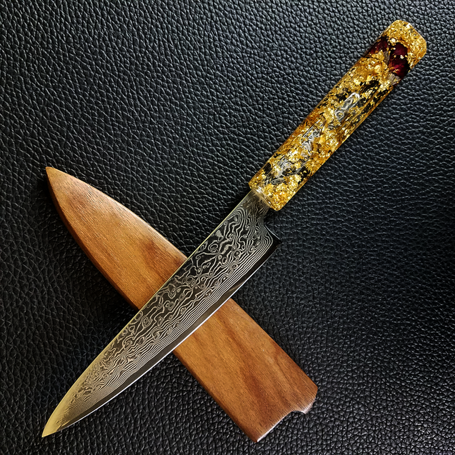 Rose Gold - 6in (150mm) Damascus Petty Culinary Knife