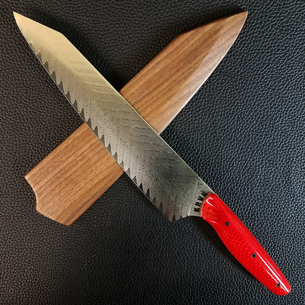 Red Dragonteeth - 10in (254mm) Damascus Gyuto - Sawtooth - Smooth Handle
