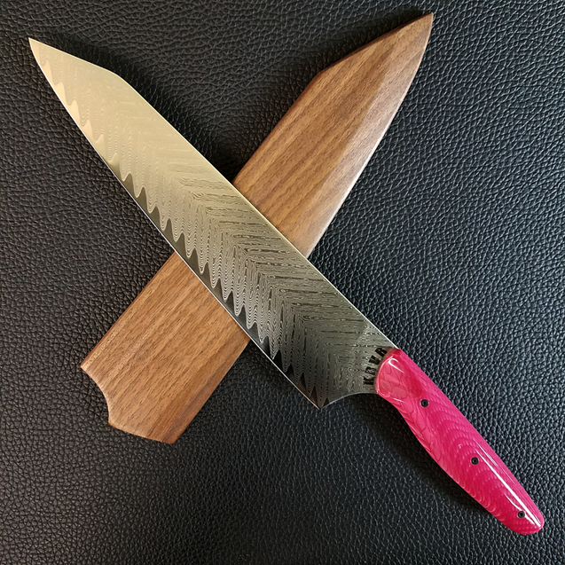 Pink Dragonteeth - 10in (254mm) Damascus Gyuto - Sawtooth - Smooth Handle