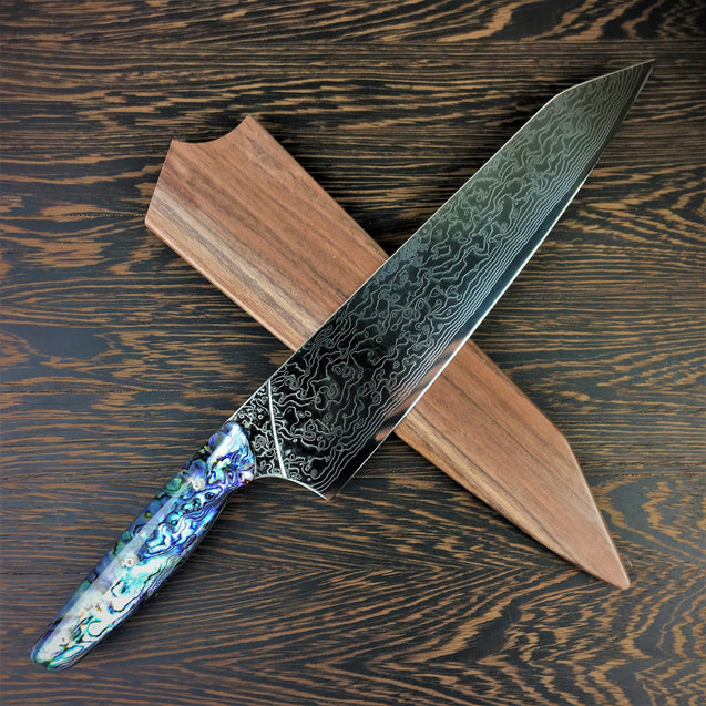 The Pearl's Daughter II - Gyuto K-tip 10in Chef's Knife - Paua Abalone Handle - Mother of Pearl Damascus Blade