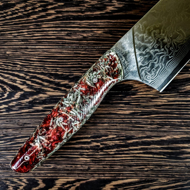 Blood Money - 10in (254mm) Damascus Gyuto - Raindrop - Wavy Handle