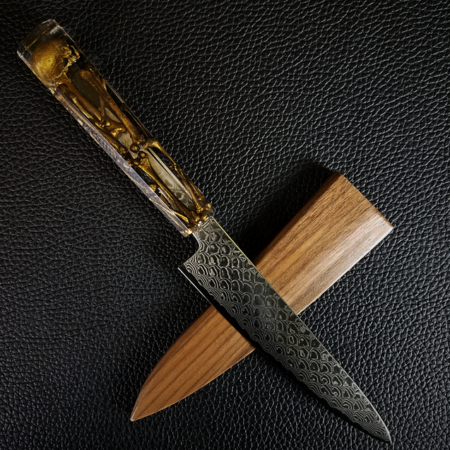 Golden Bones II - 6in (150mm) Damascus Petty Culinary Knife
