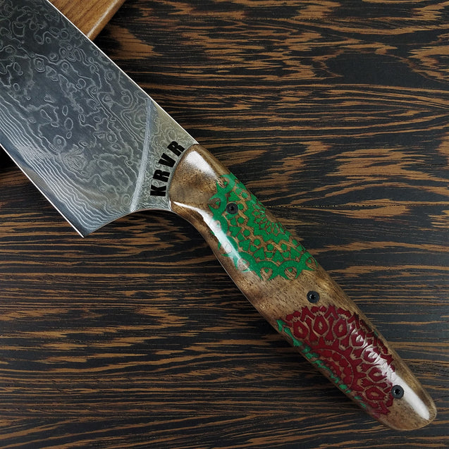 Merry Mandalas - 10in (254mm) Damascus Gyuto - Raindrop - Smooth Handle