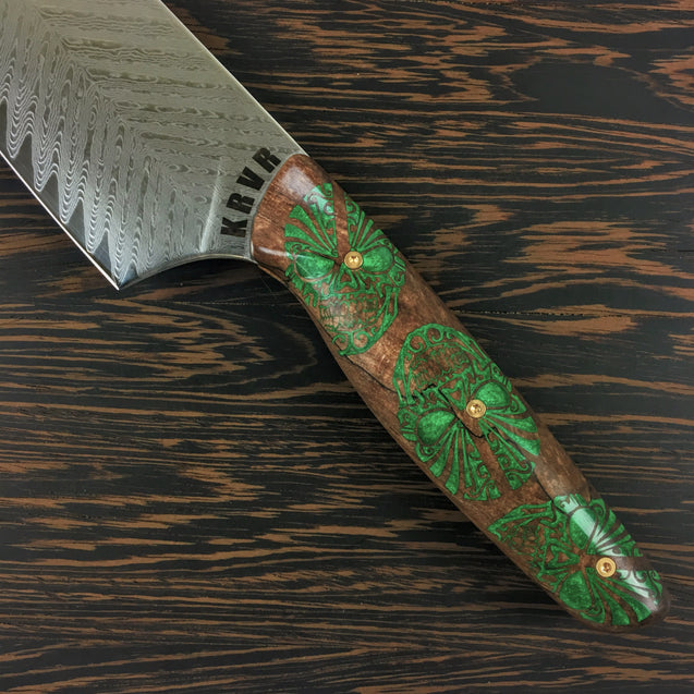 Green Goblin - 10in (254mm) Damascus Gyuto - Sawtooth - Smooth Handle