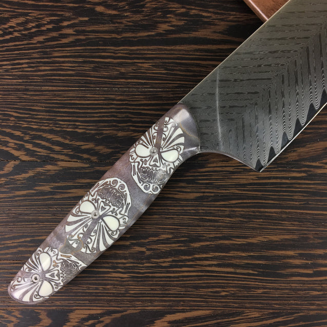 Dr Jekyll y Señor Hyde - Gyuto K-tip 10in Chef's Knife - Bone Saw Damascus