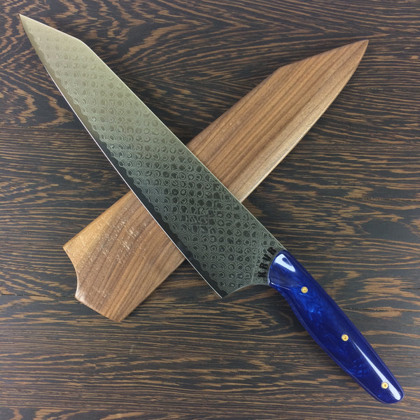 Blue Dragon - 10in Damascus Gyuto - Dragonscale - Smooth Handle