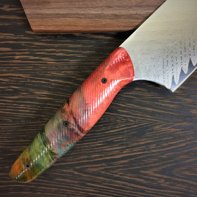 Aurora Borealis - Gyuto K-tip 10in Chef's Knife - Herringbone Damascus - Multicolor Dyed Wood Handle
