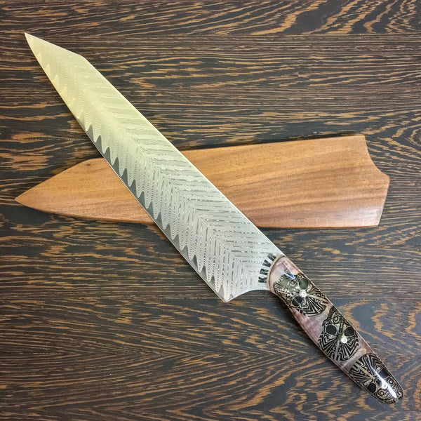 Heads Will Roll - Gyuto K-tip 10in Chef's Knife - Herringbone Damascus - SOLD