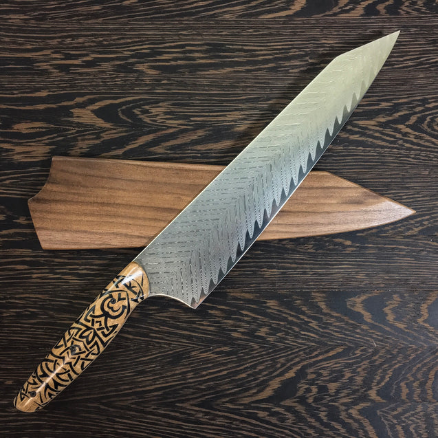 "Tribal Chef - 10"" Gyuto - Feather Damascus - Tribal Handle"