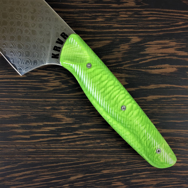 Green Dragon's Belly- 10in Damascus Gyuto - Dragonscale - Wavy Handle