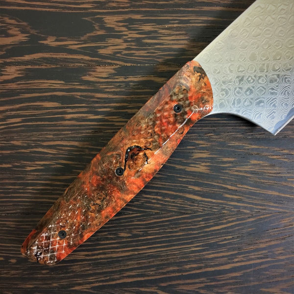 Diamondback Burl - Gyuto K-tip 10in Chef's Knife - Snake Scale Damascus